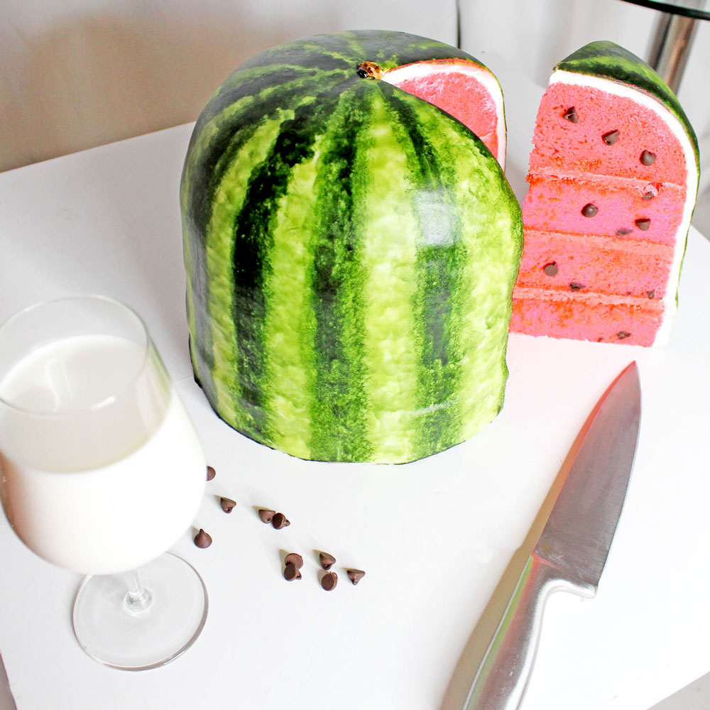 watermelon-cake-pink-velvet-chocolate-chips
