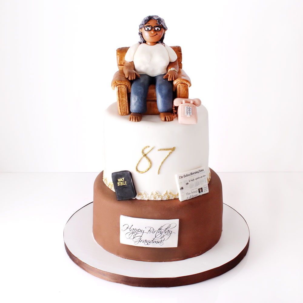 Fondant Grandma Figure on top two tier cake | vanilla and red velvet
