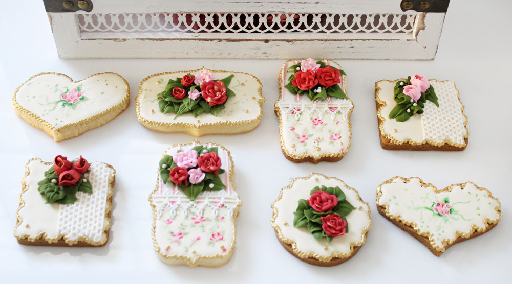 Hand-Painted Cookies French Vintage with Royal Icing Roses