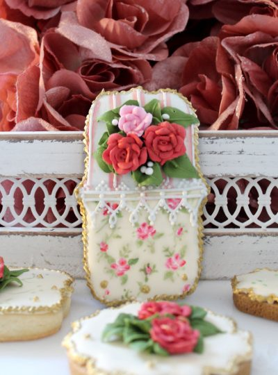 Hand Painted French Vintage Cookies with Royal Icing Roses